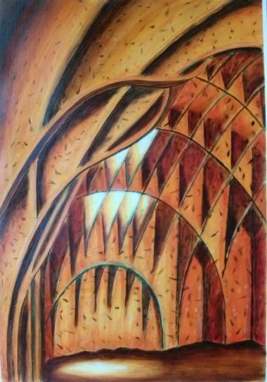 realistisches Bild, Blick ins Gewölbe Autobahnkirche Siegerland