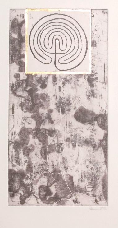 © Miriam E. Hofmann, Der Weg, Radierung (2 Platten,offenen Ätzung und Aquatinta) mit Blattmetall, 2018
