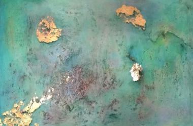 © Miriam Hofmann,Das aufgewühlte Meer, Acryl, Asche und Blattmetall auf Leinwand, 2016