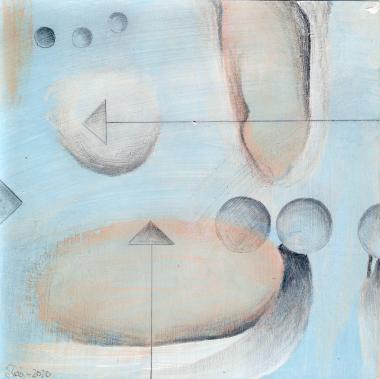 © Miriam Eva Hofmann, Abstract #11, Acryl, Collage, Graphit, 2020, 17x17cm