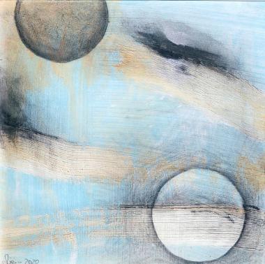 © Miriam Eva Hofmann, Abstract #13, Acryl, Graphit, 2020, 17x17cm