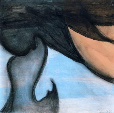 © Miriam Eva Hofmann, Abstract #15, Acryl und Kohle auf Papier, 2020, 17x17cm