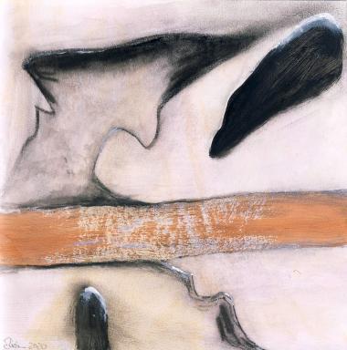 © Miriam Eva Hofmann, Abstract #16, Acryl und Kohle auf Papier, 2020, 17x17cm