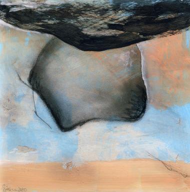 © Miriam Eva Hofmann, Abstract #17, Acryl und Kohle auf Papier, 2020, 17x17cm