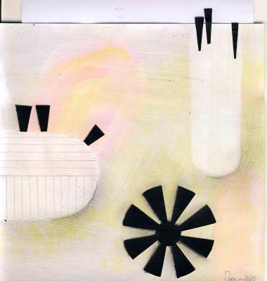 © Miriam Eva Hofmann, Abstract #1, Acryl, Collage, Graphit, 2020, 17x17cm