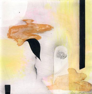 © Miriam Eva Hofmann, Abstract #2, Acryl, Collage, Graphit, 2020, 17x17cm