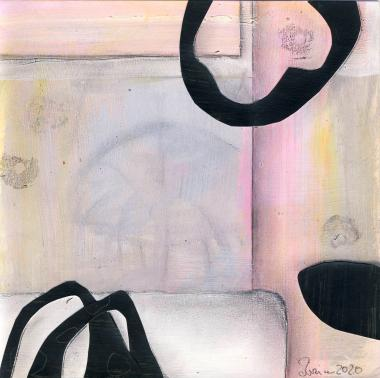 © Miriam Eva Hofmann, Abstract #4, Acryl, Collage, Graphit, 2020, 17x17cm