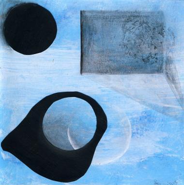 © Miriam Eva Hofmann, Abstract #8, Acryl, Collage, Graphit, 2020, 17x17cm