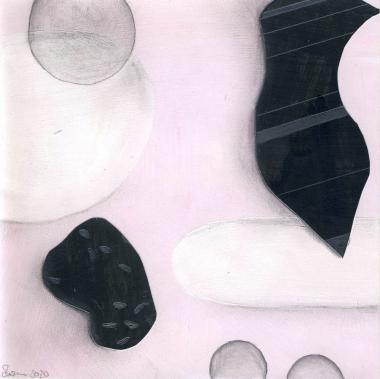 © Miriam Eva Hofmann, Abstract #9, Acryl, Collage, Graphit, 2020, 17x17cm