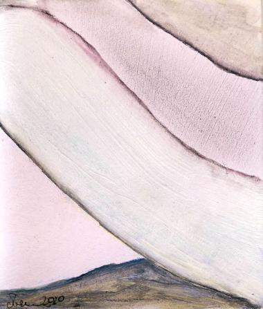 © Miriam Eva Hofmann, Phantasm landscape #4, Acryl auf Papier, 2020, ca.8x8cm