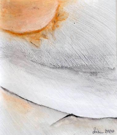© Miriam Eva Hofmann, Phantasm landscape #5, Acryl auf Papier, 2020, ca.8x8cm