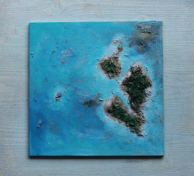 © Miriam Eva Hofmann, Reif für die Insel. Acryl auf Leinwand auf Holz, 2014
