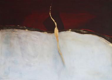 © Miriam Hofmann,Durchbruch, Acryl, Asche und Blattmetall auf Leinwand, 2011