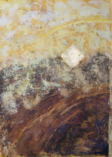 abstraktes Bild, Blattgold, pastoser Farbauftrag