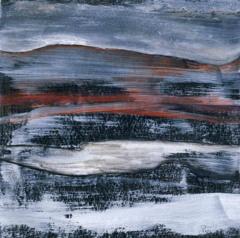 © Miriam Eva Hofmann, Abstract #18, Acryl auf Papier, 2020, 17x17cm