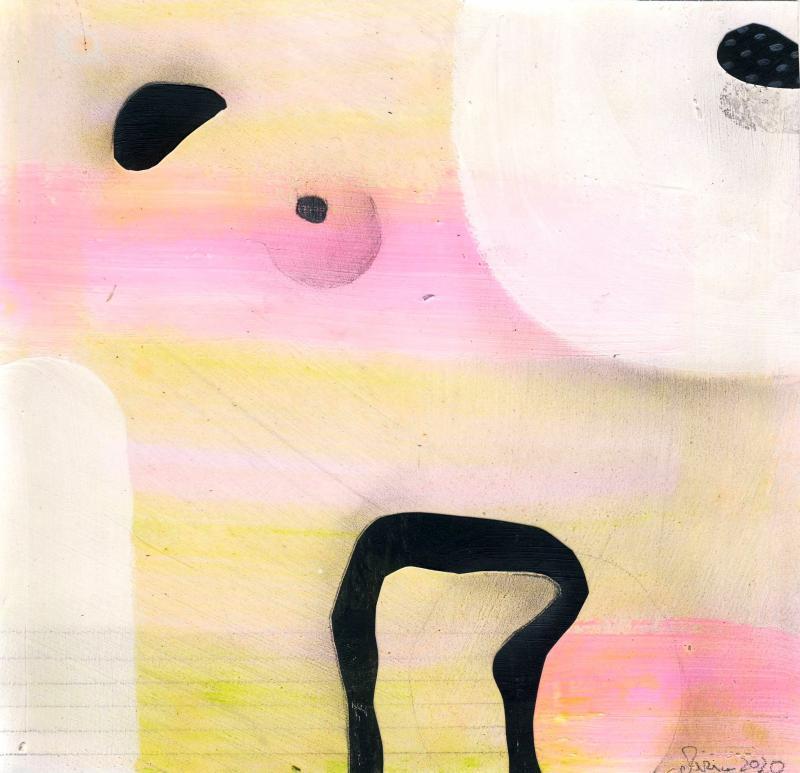 © Miriam Eva Hofmann, Abstract #3, Acryl, Collage, Graphit, 2020, 17x17cm