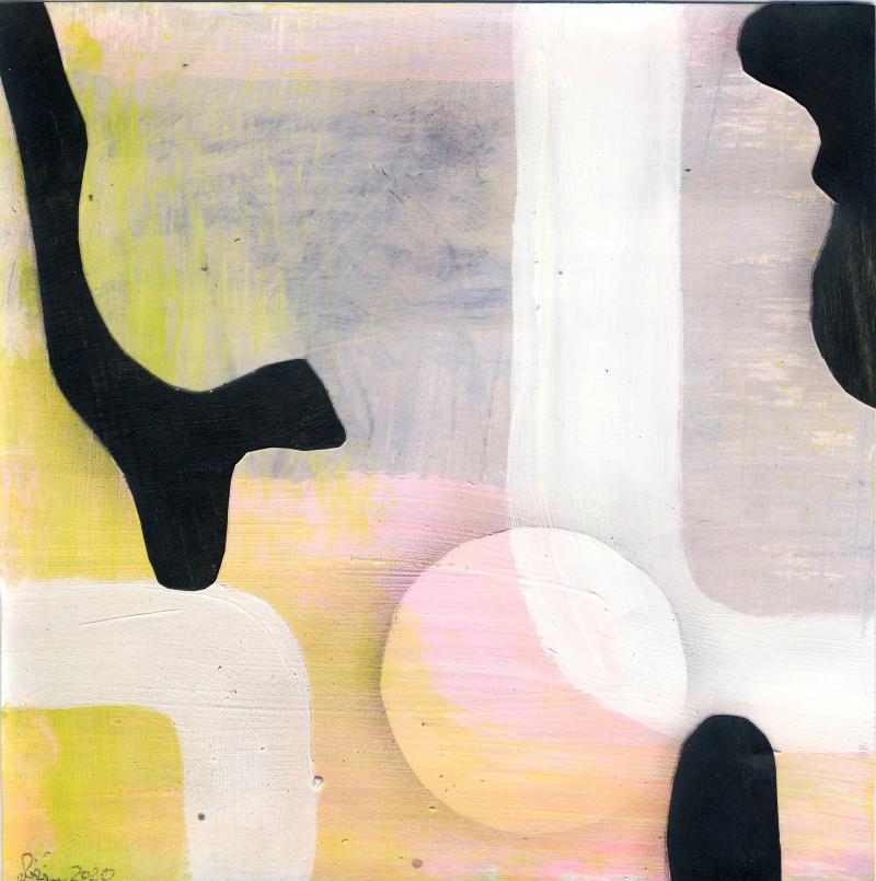 © Miriam Eva Hofmann, Abstract #6, Acryl, Collage, Graphit, 2020, 17x17cm